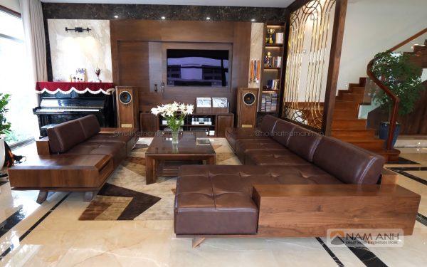 Mẫu bàn ghế sofa phòng khách cao cấp bằng gỗ óc chó