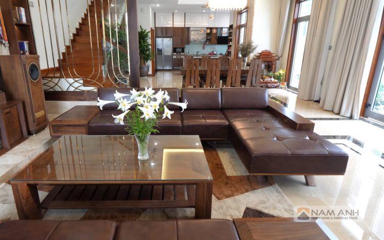 Mẫu bàn ghế phòng khách gỗ óc chó đẹp