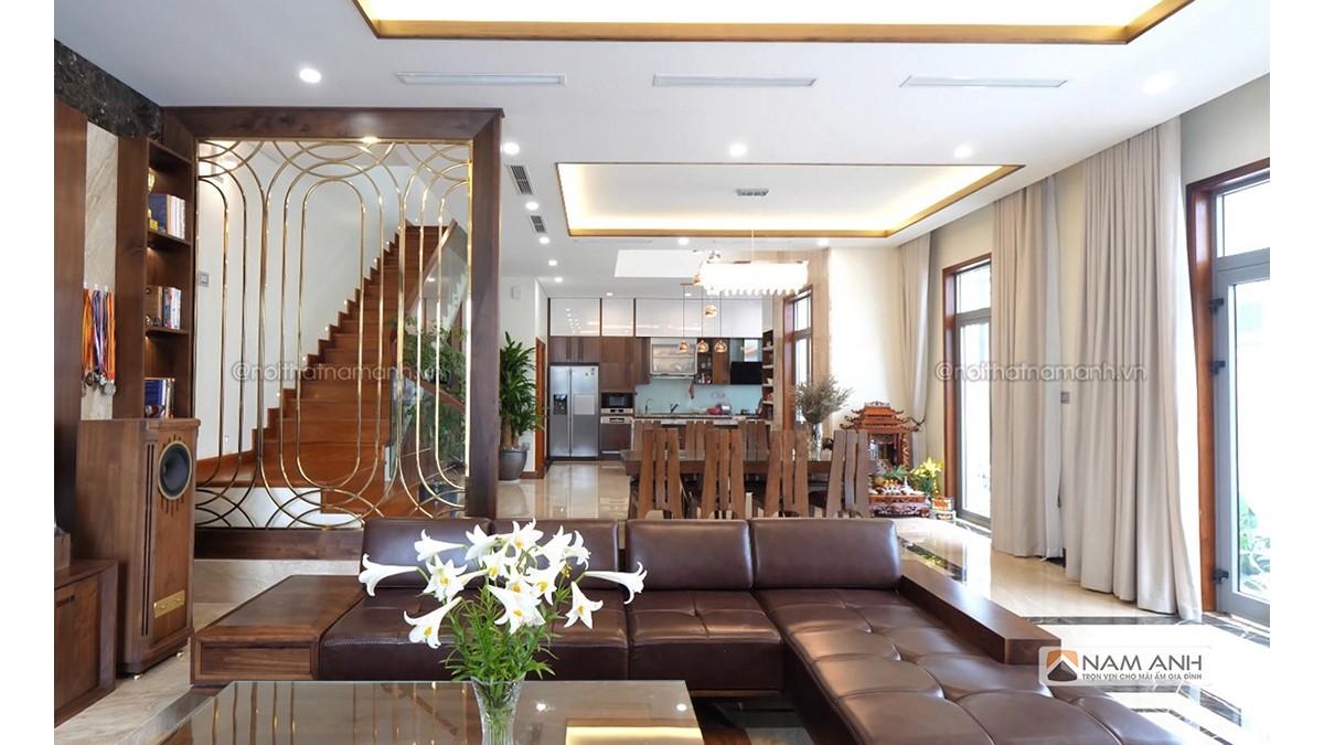 Hình ảnh minh họa thiết kế phòng khách liền bếp