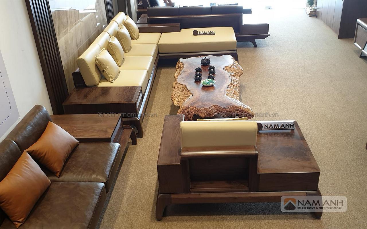 Bàn ghế sofa óc chó cao cấp