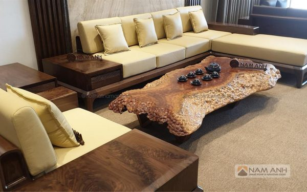 Mẫu bàn ghế sofa gỗ óc chó đẹp giá rẻ