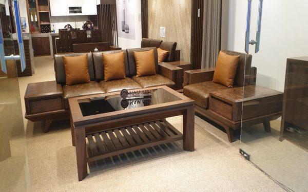 Mẫu bàn ghế sofa phòng khách óc chó đẹp cao cấp