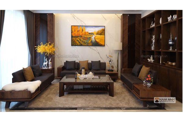 Mẫu bàn ghế sofa phòng khách gỗ óc chó đẹp giá rẻ
