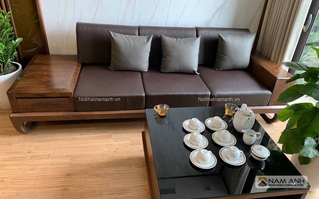 Mẫu sofa phòng khách gỗ óc chó giá rẻ cao cấp