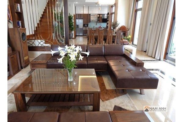 Bàn ghế phòng khách gỗ tự nhiên cho phòng khách