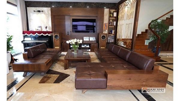tư vấn chọn sofa gỗ cho phòng khách rộng rãi